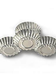 cheap -10pcs Cake Aluminium Alloy Tart Mould Baking Tool Cupcake Egg Tart Fruit Tart Mold 7Cm Diameter