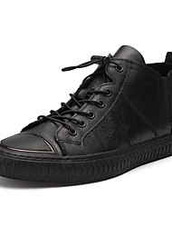 cheap -Men's Shoes Leatherette Winter Fall Comfort Sneakers Booties/Ankle Boots Split Joint for Casual Black