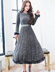 Swing Vestito Da donna-Casual Moda città Tinta unita Rotonda Medio Manica lunga Pelliccia di coniglio Autunno Inverno A vita medio-alta