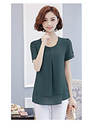 Women's Casual/Daily Simple Blouse,Solid Round Neck Short Sleeves Rayon