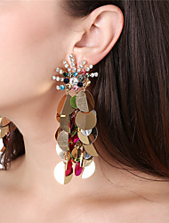cheap -Women's Drop Earrings / Front Back Earrings / Ear Jacket - Rhinestone Peacock Oversized Black / White / Rainbow For Party / Club