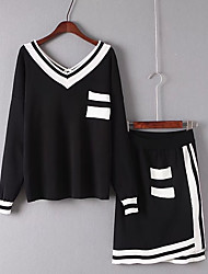 Women's Beach Sexy Summer T-shirt Skirt Suits,Solid Color Block V Neck Long Sleeve