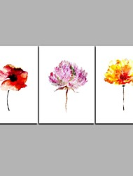 cheap -Hand-Painted Floral/Botanical Horizontal Panoramic,Artistic Flower Modern Style Nature Inspired Casual Birthday Modern/Contemporary