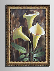 cheap -Framed Canvas Framed Set Still Life Floral/Botanical Vintage Wall Art, PVC Material With Frame Home Decoration Frame Art Living Room