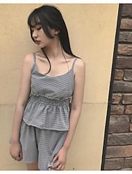 abordables -Mujer Simple Noche Verano Tank Top Pantalón Trajes,Con Tirantes Estampado Sin Mangas
