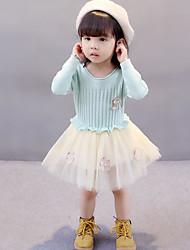 cheap -Girl's Solid Dress Winter Fall Lace Blushing Pink Light Green