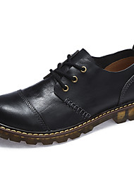 cheap -Men's Shoes Nappa Leather Winter Fall Comfort Oxfords Lace-up for Casual Outdoor Black Coffee