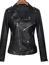 cheap -Women's Daily Street chic Fall Leather Jacket,Solid Shirt Collar Long Sleeve Regular