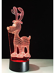 cheap -1 Set, Home Bedroom Acrylic 3D Night Light LED Lamp USB Mood Lamp, Available Battery, Colorful, 3W, Cartoon deer