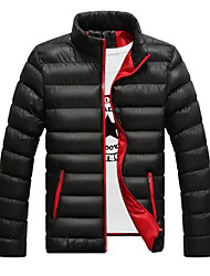 cheap -Men's Regular Padded Coat Daily Going out Color Block-Cotton Cotton Long Sleeves