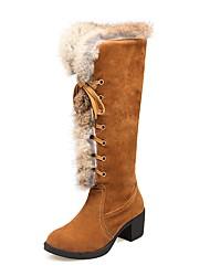 Feminino Sapatos Pele Nobuck Inverno Conforto Botas de Neve Botas Salto Grosso Ponta Redonda Botas Cano Alto Cadarço Combinação Para