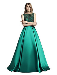 cheap -A-Line Bateau Neck Floor Length Mikado Prom / Formal Evening Dress with Beading Sequin by LAN TING Express