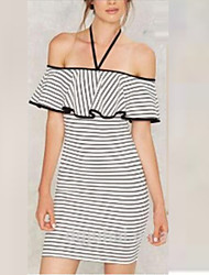 cheap -Women's Club Sexy Bodycon Dress,Striped Halter Above Knee Short Sleeves Silk Summer High Rise Micro-elastic Sheer