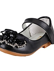 Girls' Shoes Leatherette Spring Fall Comfort Flower Girl Shoes Flats Rhinestone Bowknot Magic Tape for Wedding Dress Black
