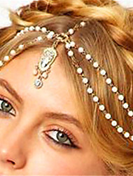 cheap -Women's Alloy Rhinestone Imitation Pearl Head Chain,Vintage Style Pearl Boho Imitation Pearl Rhinestone Acrylic Spring/Fall All Seasons