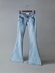 economico -Da donna A vita medio-alta Media elasticità Bootcut Jeans Chino Pantaloni,Tinta unita Altro Primavera Autunno