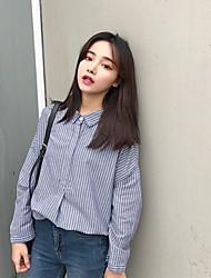 cheap -Women's Daily Tunics Shirt,Striped Stand Long Sleeves Cotton