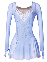 Figure Skating Dress Women's Girls' Ice Skating Dress Blue/White Spandex Rhinestone Sequined High Elasticity Performance Skating Wear