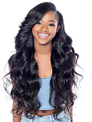 cheap -Women Human Hair Lace Wig Brazilian Human Hair Lace Front 130% Density Layered Haircut With Baby Hair Wavy Wig Black Medium Brown Dark