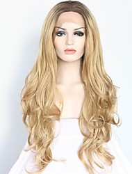 cheap -Women Synthetic Wig Lace Front Medium Length Long Curly Wavy Natural Wave Loose Wave Golden Blonde Ombre Hair Dark Roots Natural Hairline