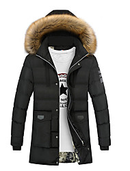 Men's Daily Plus Size Simple Vintage Casual Winter Fall Jacket,Solid Hooded Long Sleeve Long Cotton Polyester