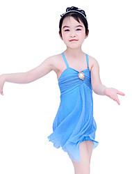 preiswerte -Ballett Kleider Damen Kinder Vorstellung Elastan Polyester Rüschen Gefalten 2 Stück Ärmellos Normal Kleid Kopfbedeckungen
