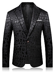 cheap -Men's Daily Going out Sophisticated Winter Fall Blazer,Solid Notch Lapel Long Sleeve Regular Cotton Polyester