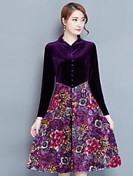 baratos -Mulheres Tamanhos Grandes Solto Vestido Floral Colarinho Chinês Cintura Baixa Altura dos Joelhos
