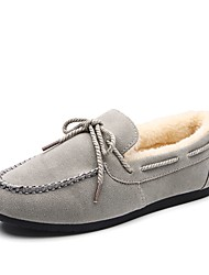 cheap -Women's Shoes PU Winter Fur Lining Moccasin Light Soles Boat Shoes Round Toe Lace-up For Casual Red Brown Gray Black