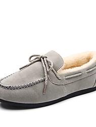 abordables -Mujer Zapatos PU Invierno Mocasín Suelas con luz Forro de piel Calzado de Barco Dedo redondo Con Cordón Para Casual Negro Gris Marrón Rojo