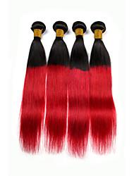 Cabelo Humano Cabelo Brasileiro Reto Côr Misturada Fashion Extensões de cabelo 4pçs Preto vermelho