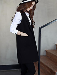 cheap -Women's Daily Simple Casual Spring Fall Vest,Solid Shirt Collar Sleeveless Long Cotton