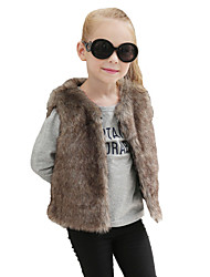 cheap -Girls' Solid Jacket & Coat, Wool Rabbit Fur Raccoon Fur Winter Fall Sleeveless Brown White Black