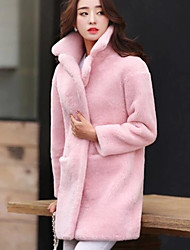 cheap -Women's Daily Going out Street chic Winter Fall Fur Coat,Solid Peaked Lapel Long Cashmere