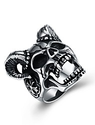cheap -Men's Statement Ring - Stainless Steel Skull Classic, Rock, Hip-Hop 8 / 9 / 10 Silver For Ceremony / Club