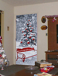 cheap -3D DIY Door Sticker Christmas Tree With Snow & Gifts Wall Stickers Red Chair Door Murals Removable Waterproof Xmas Decals Festival Mural Home Decor