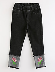 cheap -Girls' Floral Jeans,Cotton Fall Black