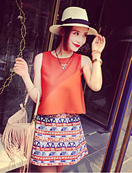 Women's Casual/Daily Simple Summer Tank Top Skirt Suits,Solid Pattern Round Neck Sleeveless Micro-elastic