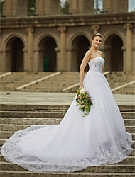 cheap -Ball Gown Strapless Cathedral Train Satin Tulle Beaded Lace Custom Wedding Dresses with Beading Appliques by LAN TING BRIDE®
