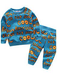 baratos -bebê Crianças Conjunto Algodão Diário Outro Primavera/Outono Algodão Manga Longa Azul