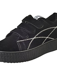 cheap -Women's Shoes PU Fall Comfort Sneakers Round Toe Lace-up Black / Gray