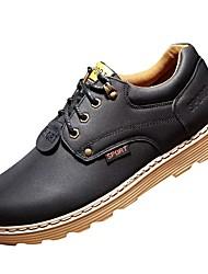 Недорогие -Муж. обувь Кожа Весна / Осень Удобная обувь Туфли на шнуровке Сапоги до середины икры Синий / Хаки / Вино