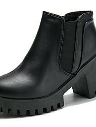 baratos -Mulheres Sapatos Couro Ecológico Outono Botas da Moda / Conforto Botas Ponta Redonda Botas Curtas / Ankle Elástico para Preto