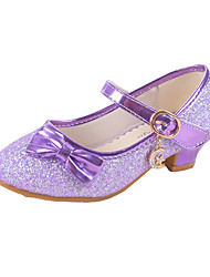 cheap -Girls' Shoes Synthetic Microfiber PU Spring Fall Novelty Comfort Heels Buckle for Party & Evening Dress White Purple Red