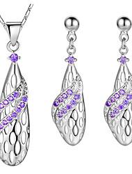 Women's Drop Earrings Pendant Necklaces AAA Cubic Zirconia Fashion Elegant Silver Cubic Zirconia Drop Earrings Necklace For Wedding Party