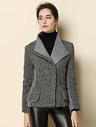 preiswerte -Damen Solide Einfach Street Schick Anspruchsvoll Ausgehen Lässig/Alltäglich Mantel,Hemdkragen Winter Lange Ärmel Kurz Wolle Polyester
