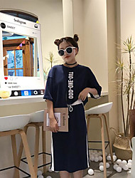 abordables -Mujer Simple Casual/Diario Primavera Verano Otoño T-Shirt Falda Trajes,Escote Redondo Letra y Número Manga Tres Cuartos