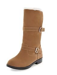 preiswerte -Damen Schuhe Kunstleder Herbst Winter Modische Stiefel Stiefel Blockabsatz Runde Zehe Mittelhohe Stiefel Schnalle Für Normal Kleid