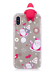 abordables -Funda Para Apple iPhone X iPhone 8 Plus Diseños Manualidades Cubierta Trasera Dibujo 3D Navidad Suave TPU para iPhone X iPhone 8 Plus