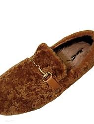 Femme Chaussures Cachemire Hiver Confort Mocassins et Chaussons+D6148 Bout rond Pour Décontracté Noir Marron Rose Kaki